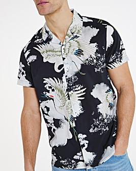 Grey Viscose Cotton Short Sleeve Revere Collar Shirt