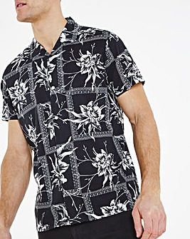 Black Viscose Cotton Short Sleeve Revere Collar Shirt