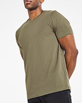 Khaki Crew Neck T-Shirt Long