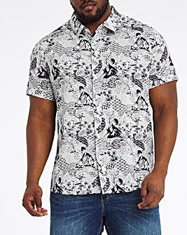 Navy/White Viscose Cotton Short Sleeve Collar Shirt