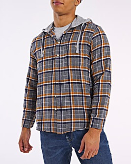 Grey Check Hooded Flannel Shirt