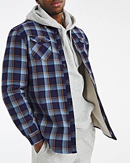 Denim Check Borg Lined Flannel Shirt