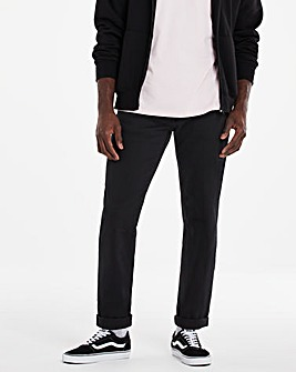 Black Straight Fit Gaberdine Jeans