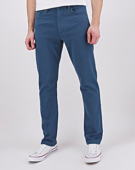 Blue Straight Fit Gabardine Jeans