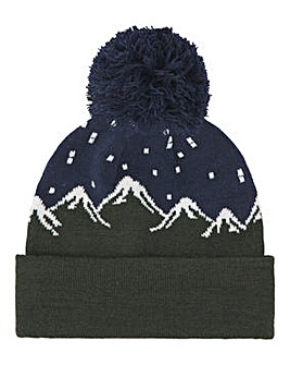 Novelty Mountain Fairisle Bobble Hat