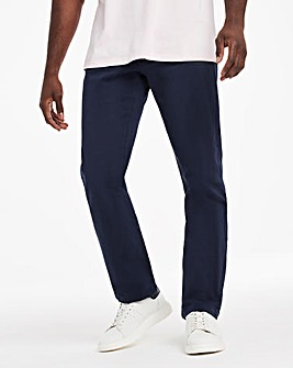 Navy Straight Stretch Gabardine Jeans