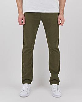 Khaki Straight Fit Gaberdine Jeans