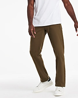 Khaki Straight Stretch Gabardine Jeans