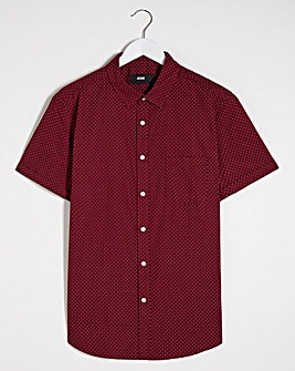 Red Polka Dot Short Sleeve Shirt Long