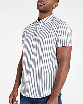 White Fine Stripe Poplin Short Sleeve Shirt