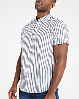 White Fine Stripe Poplin Short Sleeve Shirt