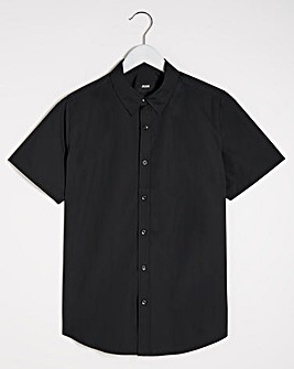 Black Short Sleeve Formal Shirt Reg