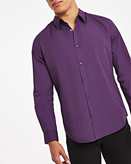Purple Long Sleeve Formal Shirt Long