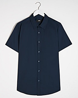 Navy Short Sleeve Formal Shirt Long