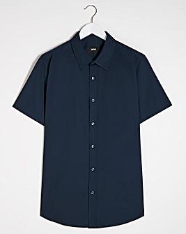 Navy Short Sleeve Formal Shirt Long