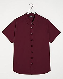 Wine Short Sleeve Formal Shirt Long