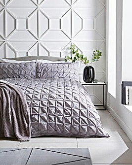 Ruched Pleated Grey Duvet Cover Set