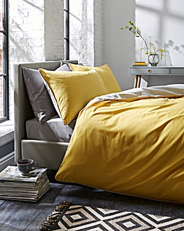Ochre/Grey Piped Reversible Duvet Cover