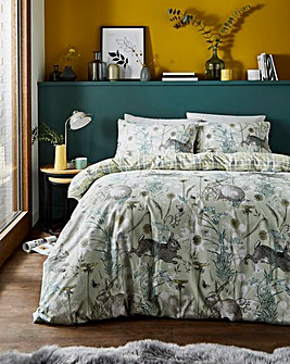 Rabbit Meadow Sage Reversible Duvet Set