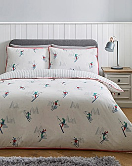 Ski Striped Reversible Duvet Cover Set