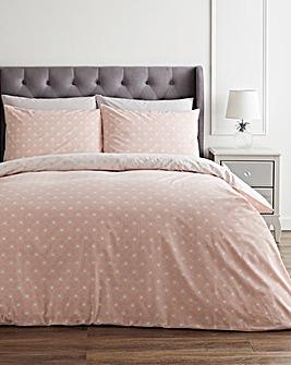 Hazel Pink Printed Reversible Duvet Set