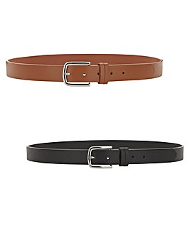 2 Pack Slim Leather Belt