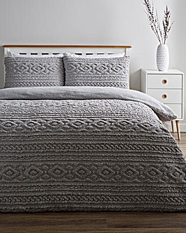 Pipin Grey Cuddle Fleece Duvet Cover Set