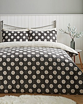 Fleece Dot Black & White Duvet Cover Set