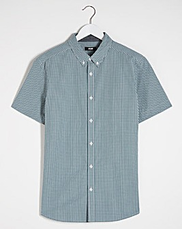 Short Sleeve Blue Check Poplin Shirt