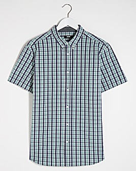 Short Sleeve Mint Check Poplin Shirt