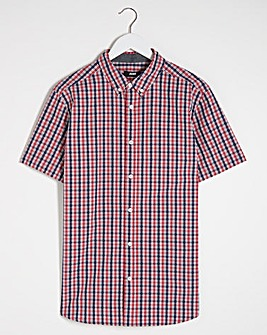 Short Sleeve Coral Check Poplin Shirt