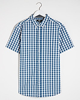 Short Sleeve Green Check Poplin Shirt