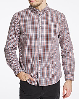 Long Sleeve Ochre Check Poplin Shirt