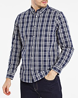 Long Sleeve Navy Check Poplin Shirt