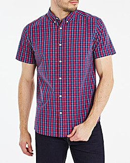 Short Sleeve Red Check Poplin Shirt