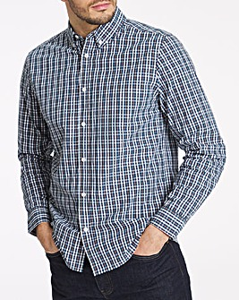 Long Sleeve Blue Check Poplin Shirt
