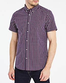 Short Sleeve Navy Check Poplin Shirt
