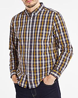 Long Sleeve Ochre Check Poplin Shirt