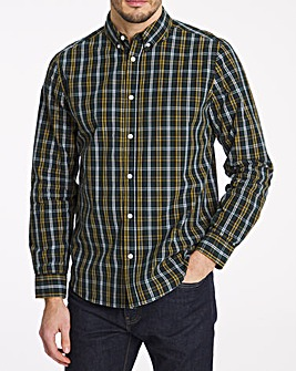 Long Sleeve Green Check Poplin Shirt