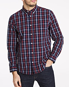 Long Sleeve Red Check Poplin Shirt