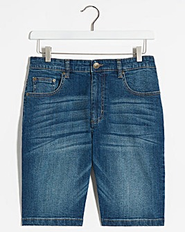 Stonewash Stretch Denim Shorts