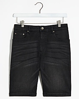 Blackwash Stretch Denim Shorts