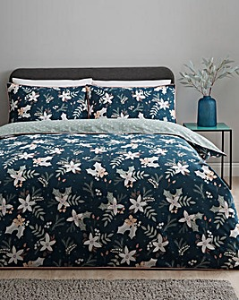 Winter Floral Reversible Duvet Cover Set