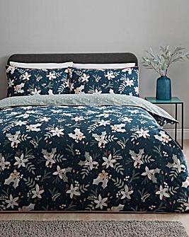 Winter Floral Reversible Duvet Cover Set