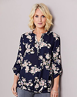 Black Floral Blouse with Necklace