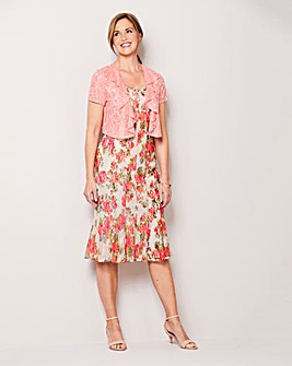 Floral Print Lace Dress and Shrug