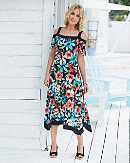 Floral Print Jersey Dress With Hanky Hem