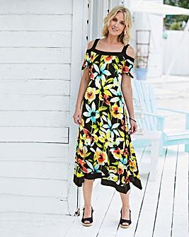 093d74822 Floral Print Jersey Dress With Hanky Hem