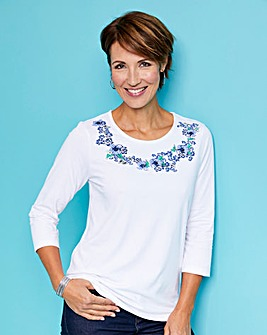 3/4 Sleeve Jersey Top with Print Detail