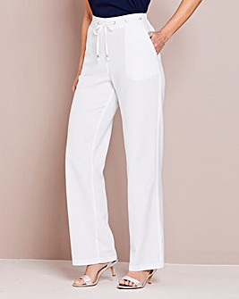 Linen Mix Drawstring Trouser Extra Short